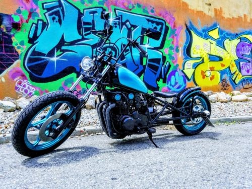 1979 Custom Built Motorcycles Bobber Hot Rod Black/ Candy Translucent Teal photo