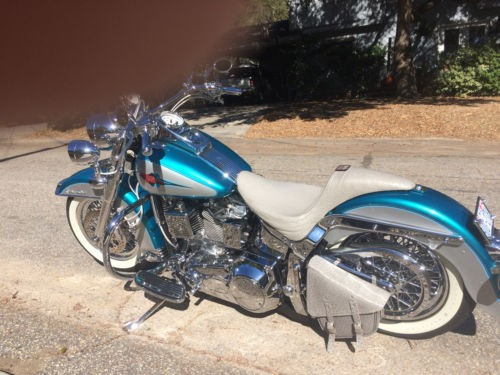 1995 Harley-Davidson Softail Auqa blue and silver photo