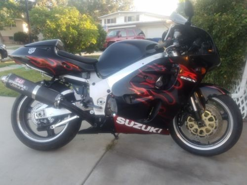 1997 Suzuki GSX-R black with red flames photo