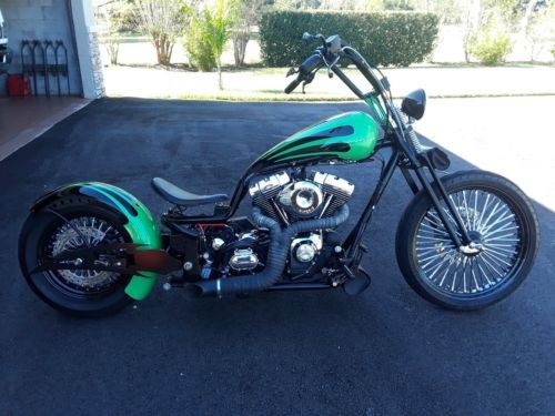 2016 Custom Built Motorcycles Bobber Black and Green Pearl photo