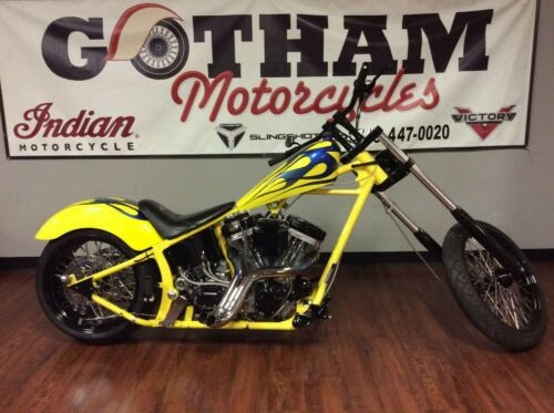2003 Custom Built Motorcycles Chopper Yellow/Blue Flame photo