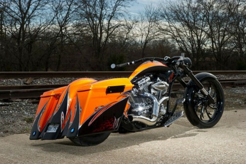2010 Custom Built Motorcycles Chopper Orange and Black photo