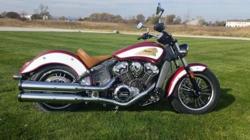 2019 Indian Scout® Icon Series Ruby Metallic over White -- Red photo