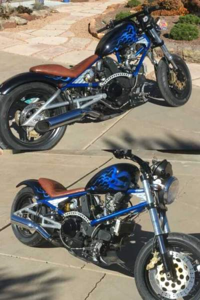 2005 Custom Built Motorcycles Chopper Custom Blue with Flames for sale craigslist photo