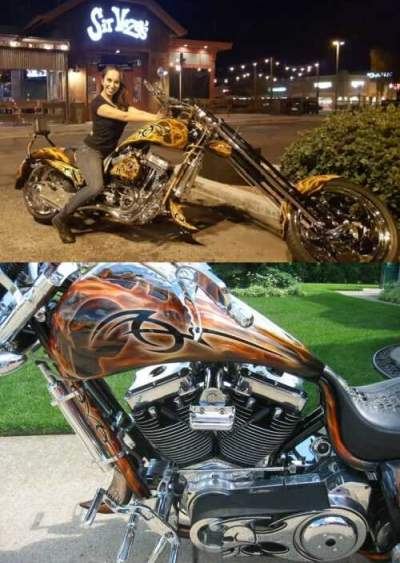 2006 Bourget 330 Fat Daddy Custom Softail Chopper Orange for sale craigslist photo