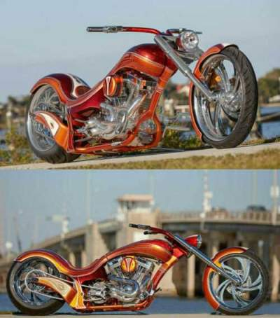 2018 Custom Built Motorcycles Chopper Orange for sale craigslist photo