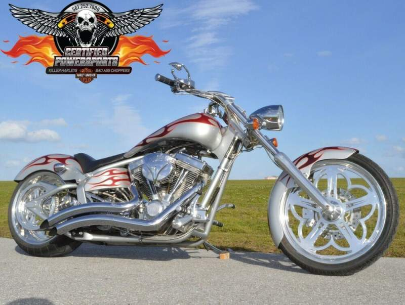 2005 American Ironhorse OUTLAW SOFTAIL CHOPPER Only 821 Miles Mint Cond! Silver Pearl With Red Wine Pearl Tribal Flames used for sale craigslist