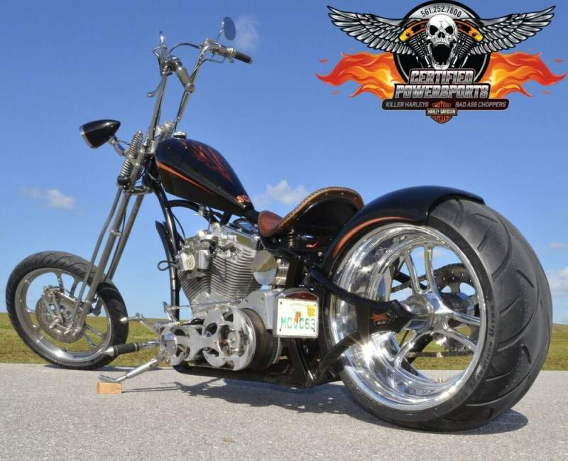 2005 Custom Built Motorcycles SANTA CLARITA SPRINGER WEST COAST CHOPPERS Black Pearl with Gold Leaf and Red Tribal Graphics used for sale