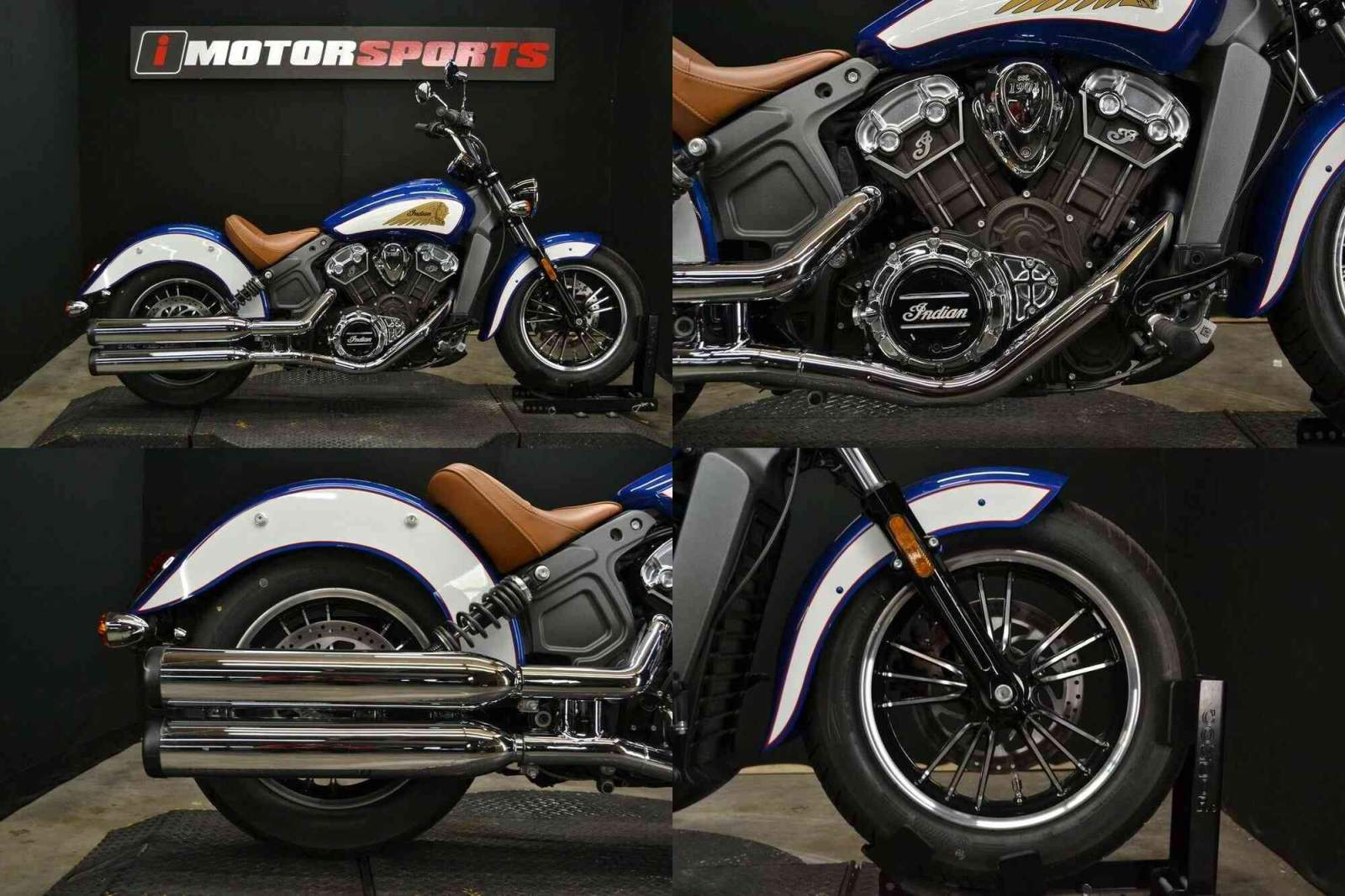 2017 Indian Scout ABS Brilliant Blue Over White and Red Blue used for sale