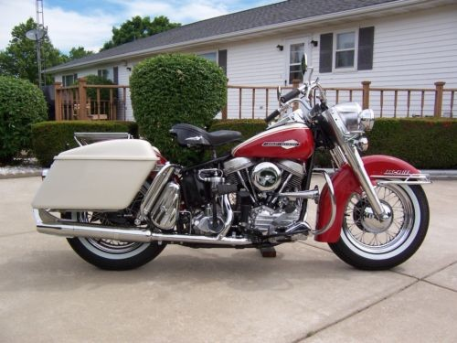 1963 Harley-Davidson Touring HI FI RED WITH BIRCH WHITE PANELS AND BAGS craigslist