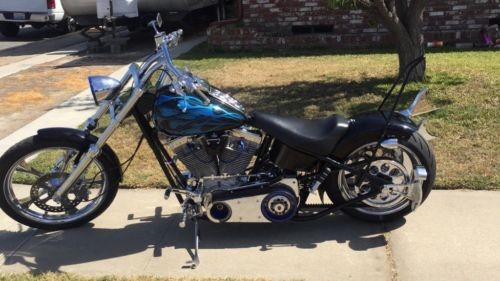 2002 Custom Built Motorcycles Chopper Black with blue flames for sale