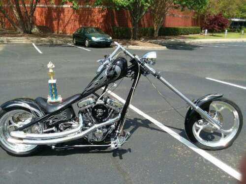 2003 Custom Built Motorcycles Chopper Black with Gray Flames for sale craigslist