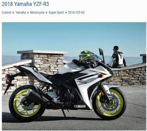2018 Yamaha YZF-R3 ABS YZFR3AJW White for sale craigslist