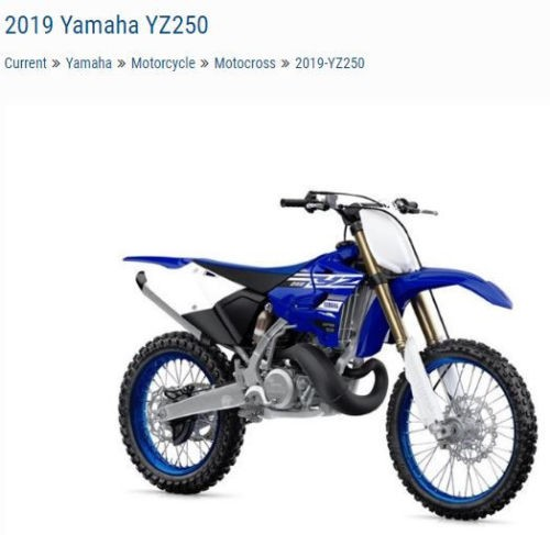 2019 Yamaha YZ250 YZ250K2 Blue for sale