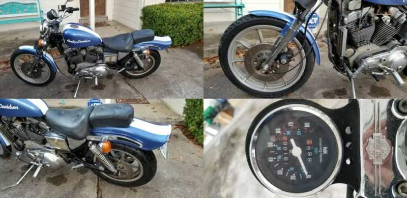 1987 Harley-Davidson Sportster Blue and White for sale