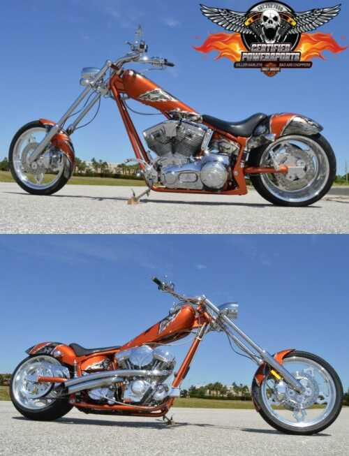 2005 American Ironhorse TEXAS SOFTAIL CHOPPER 280 REAR Nice Upgrades Candy Tangerine Pearl with Charcoal Pearl Skulls for sale craigslist