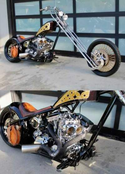 2012 Custom Built Motorcycles Chopper DARK BLACK BROWN WITH GOLD AND OFF WHITE GLITTER for sale craigslist