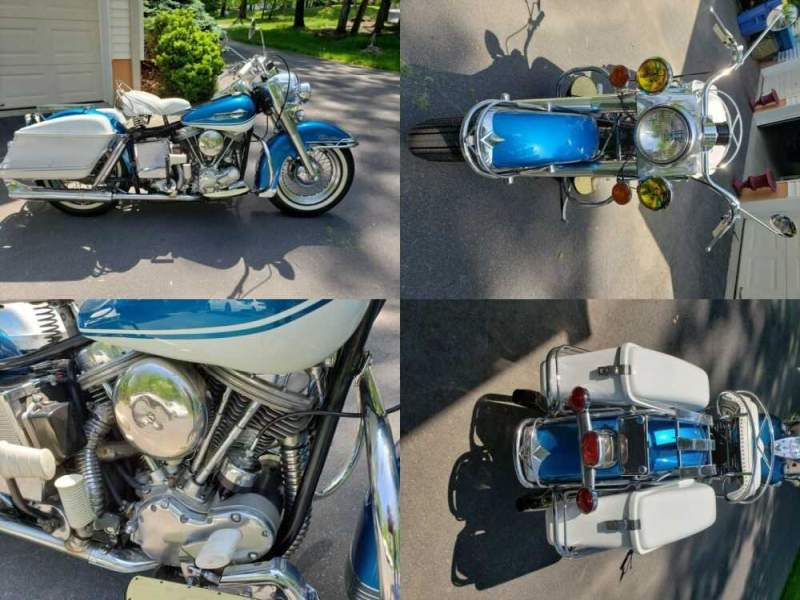 1965 Harley-Davidson Touring Hi-Fi Blue and Birch White for sale