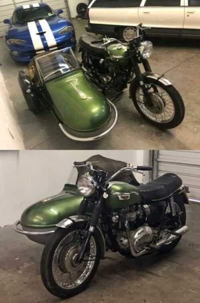 1969 Triumph Bonneville 650 With Side Car World Wide Shipping Green for sale