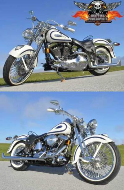 1997 Harley-Davidson HERITAGE SPRINGER CHOLO SOFTAIL FLSTS 4,389 Miles Birch White with Lazer Blue Pearl Accent Stripes for sale