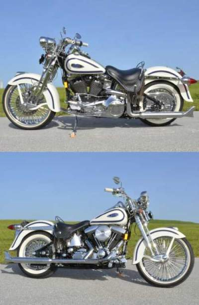1997 Harley-Davidson HERITAGE SPRINGER CHOLO SOFTAIL FLSTS FREE SHIPPIN Birch White with Lazer Blue Pearl Accent Stripes for sale craigslist