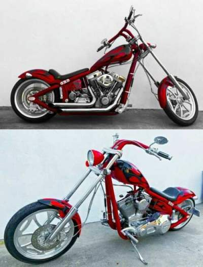 2005 Custom Built Motorcycles Chopper RED/FLAMES for sale craigslist photo