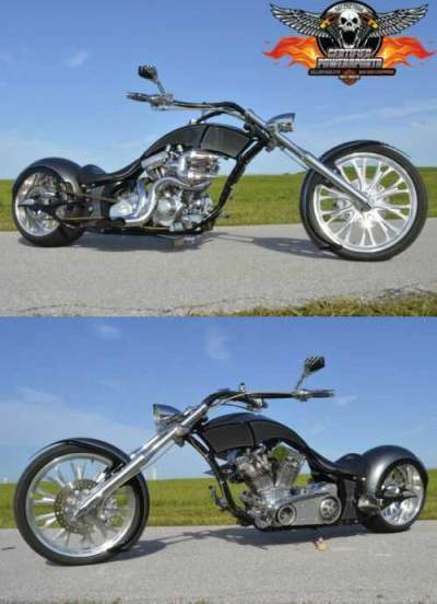 2007 Custom Built Motorcycles BIG BEAR ATHENA 300 SOFTAIL CHOPPER Low Miles Black Pearl and Gunmetal Grey Pearl Graphics for sale