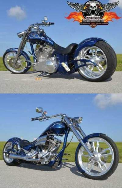 2007 Custom Built Motorcycles BIG BEAR PRO STREET MISS BEHAVIN SOFTAIL CHOPPER Orient Blue Pearl with Smokey Silver Flames for sale craigslist