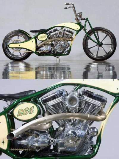 Custom Built Motorcycles: Chopper Green and Yellow for sale