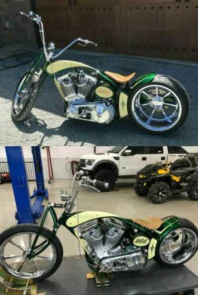 Custom Built Motorcycles: Chopper Green and yellow for sale craigslist photo