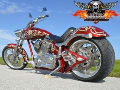 2010 Big Dog MASTIFF 300 PRO STREET SOFTAIL CHOPPER Candy Apple Red Pearl Base w Silver Pearl Tribal for sale craigslist photo