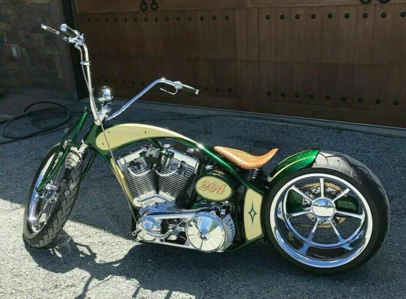 Custom Built Motorcycles: Chopper Green and yellow used for sale near me